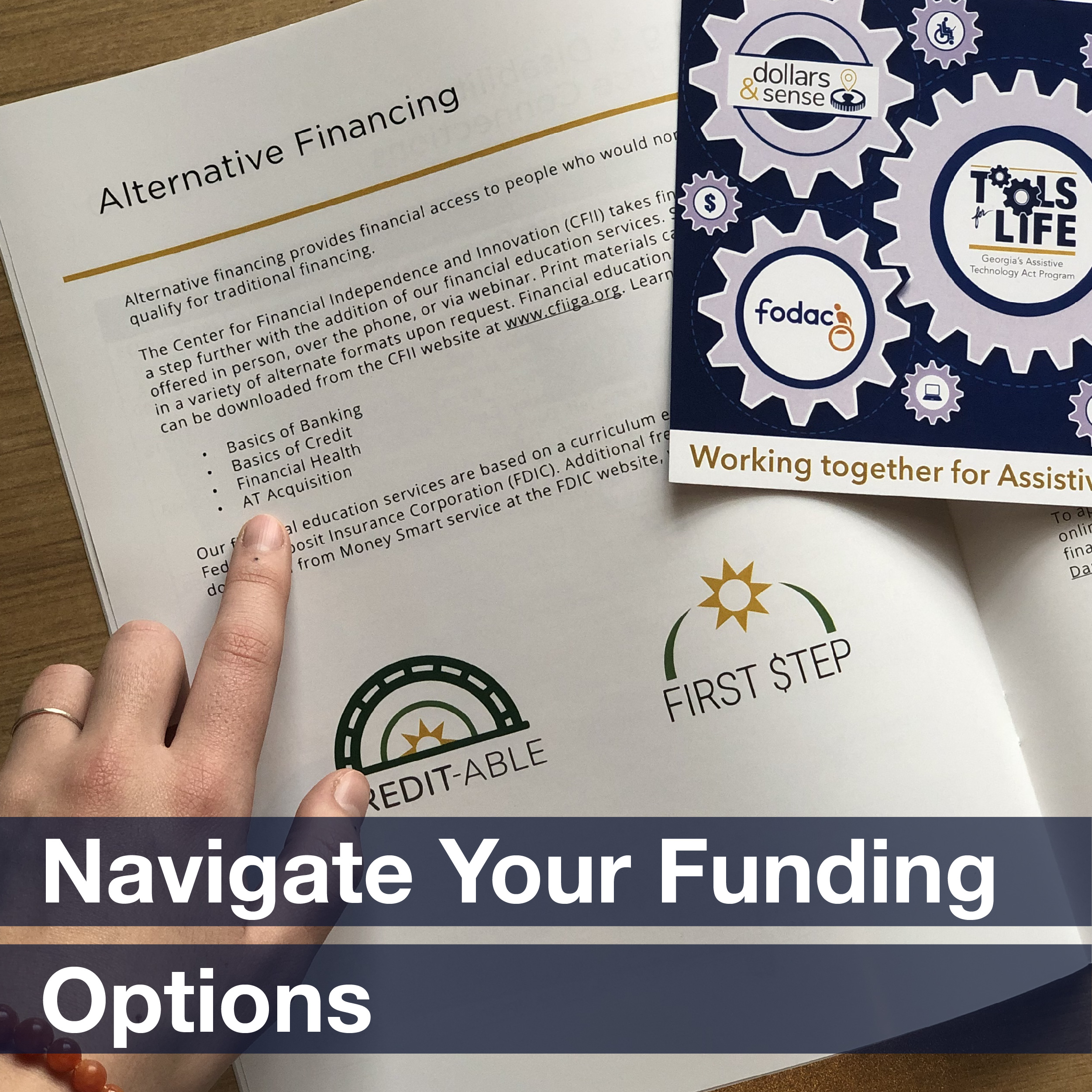 "Hands flipping through reading materials, accompanied by the phrase ""Navigate your funding options"""